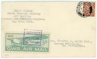 GB 1933 (22nd May) 11/2d on GWR First Flight Cover Plymouth-Cardiff-Birmingham
