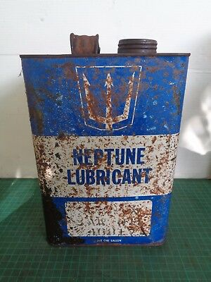 Vintage motor oil tin NEPTUNE LUBRICANT  1 gall