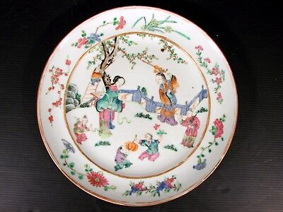 18th C Chinese Export Enameled Canton Famille Rose Porcelain Plate 1, Figures