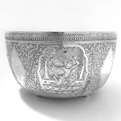 Large Burmese Solid Silver Thabeik Bowl With Chinese Hallmarks