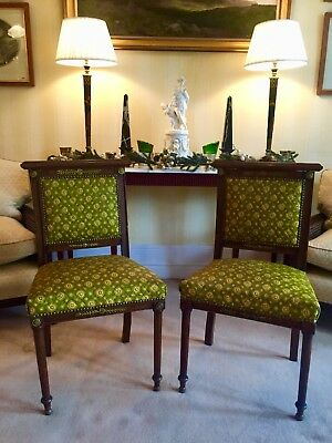 Pair of Antique Edwardian Empire-Style Chairs with Gilt Mounts