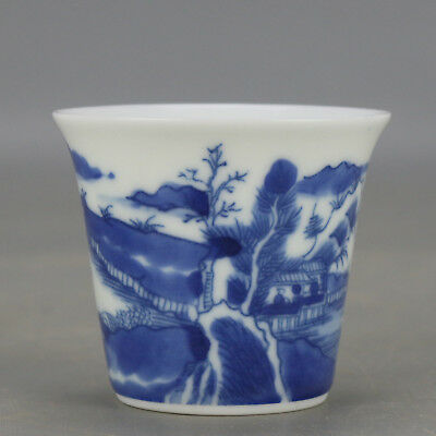 China old hand-carved Blue and white porcelain landscape pattern Kung fu tea cup