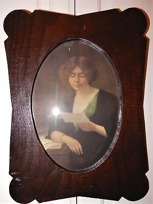 Antique ARTS & CRAFTS Dark Wood Oval Opening LADY Print PICTURE FRAME c1900