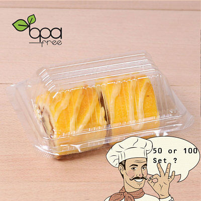50//100 Black Base Rectangle Take Out Platter Cake Container Box w// Clear Lid OA