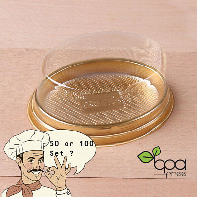 50/100 Gold Base Oval To-Go Platter Cake Bread Container w/ Clear Lid DD