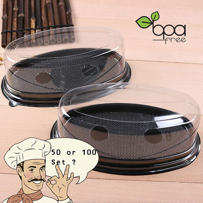 50/100 Black Base Oval Take Out Platter Cake Bread Container w/ Clear Lid DD