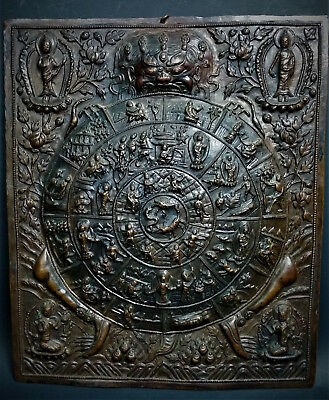 Kali Thangka Mandala Plaque Antique 19th Century Nepalese Repousse Copper-Tibet