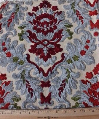French Vintage Cotton Cut Velvet Manufacturer's Sample Fabric c1940~Frame Layout
