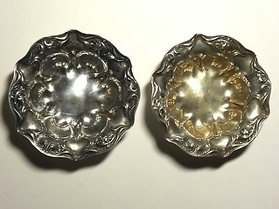 Two Vintage Wallace & Sons Sterling Silver Salt Cellars/Dip/Butter Cup Mark