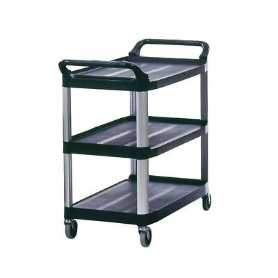 Rubbermaid Commercial 3 Tier Utility Cart Swivel Wheels Shelves 300 lb Multi Use