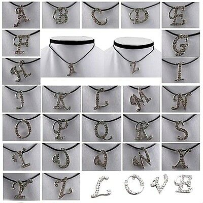 Double Layer Choker Long Necklace Initial Letter Alphabet Pendant Charm-Cord
