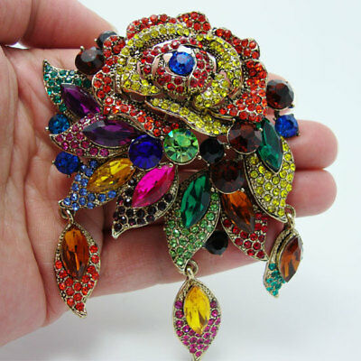 Fashion Vintage Style Art Deco Flower Rose Brooch Pin Pendant Color Rhinestone