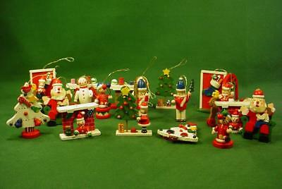 Lot Of 22 Vintage Hand Painted Wood Wooden Christmas Ornaments Santa Angels +