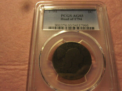 1794 Flowing Hair Large Cent PCGS graded AG3 Rare Early American Copper