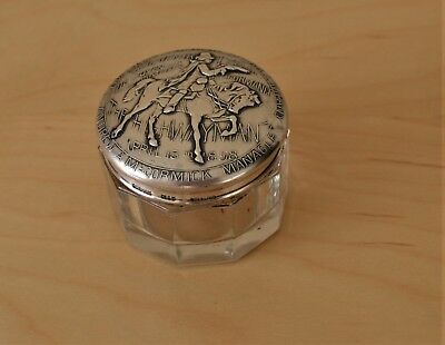 Gorham Sterling Silver and Glass Panel Jar   The Highwayman  175th Performance S