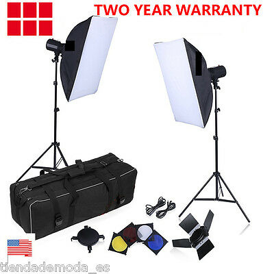 500W Photo Flash Kit Photography Studio Strobe Light Umbrella Softbox Trigger