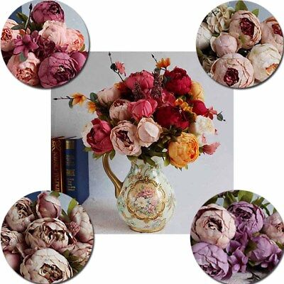 Flowers Artificial Simulation Vintage Core Leaf Fake Plants Peony Garland Party