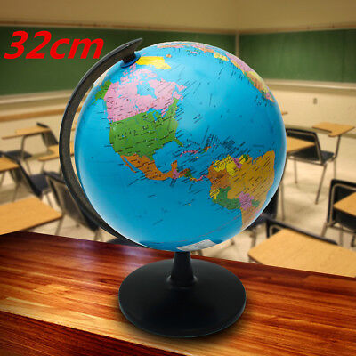Xmas Gift 32cm Swivel Stand World Globe Map Blue Ocean Geography Educational Toy