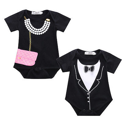 Toddlers Newborn Baby Girl Boy Tuxedo Bodysuit Romper Jumpsuit One-pieces 0-18M