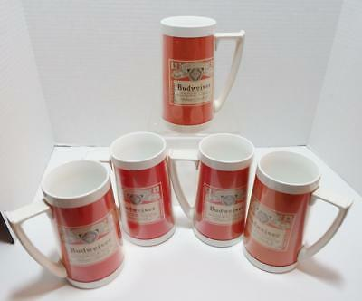 5 Vintage collectible Genuine BUDWEISER Thermo-Serv plastic beer mugs steins RED