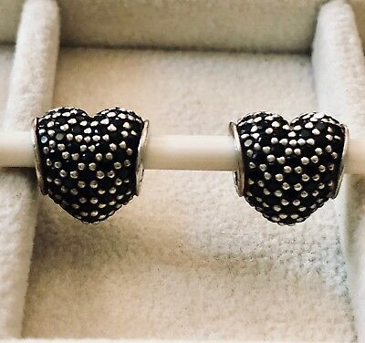TWO Authentic Pandora SS Black Pave Heart Charms