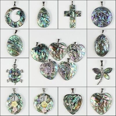 Natural Abalone Shell Round Heart Oval Cross Teardrop Dragonfly Flower Pendant
