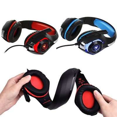 Gaming Surround Stereo Bass Headband Headphone USB 3.5mm LED with Mic for PC