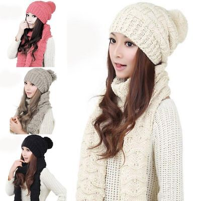 Scarf And Hat Set Womens Winter Warm Knitted Beanie Scarves Lady Knit Skullcaps#