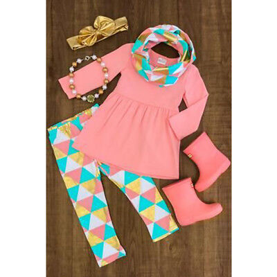 Toddler Baby Girls T-shirt Tops+Colorful Triangle Plaid Pants+Scarf 3PCs Outfits