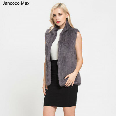 Thick Knitted Fur Vest Real Rabbit Fur Gilet Fashion Winter Warm Coat Women67095