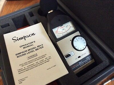 Simpson Sound Measuring System Model 884-2 Sound Level Meter Type S2A