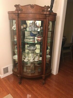 Impressive Anitque Serpentine China Closet with Carved Lions-Stunning!!