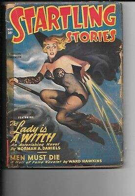 Startling Stories Pulp, March 1950, Sexy Witch Cover
