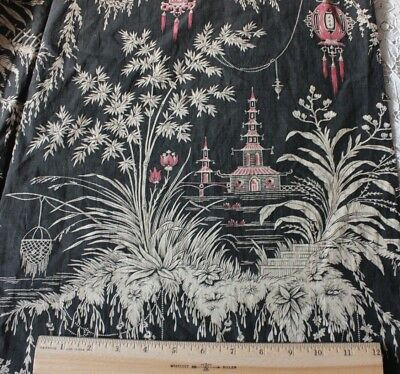 Stunning Antique French Printed Chinoiserie Cotton Chateau Panel Fabric c1850