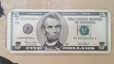 Special BEP Issue 2003 Atlanta $5 With Rare Low Fancy Serial #DF00000392A