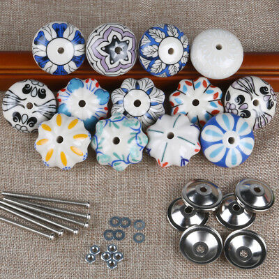 Vintage Blue and white Hand Painted Ceramic Knobs Cabinet Drawer Handles Pulls