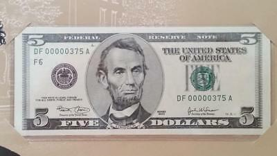 Special BEP Issue 2003 Atlanta $5 With Rare Low Fancy Serial #DF00000375A