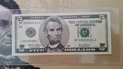 Special BEP Issue 2003 Atlanta $5 With Low Fancy Birth Year Serial #DF00002001A