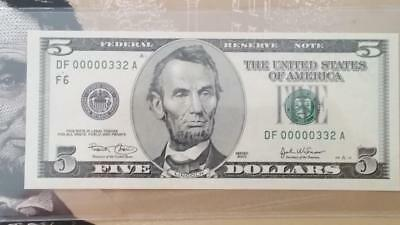 Special BEP Issue 2003 Atlanta $5 With Rare Low Fancy Serial #DF00000332A