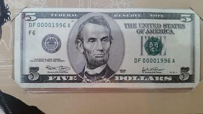 Special BEP Issue 2003 Atlanta $5 With Low Fancy Birth Year Serial #DF00001996