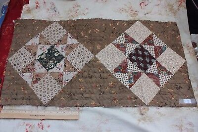 Antique Early American Printed Cottons Hand Quilted Quilt Fabric Piece c1830-40