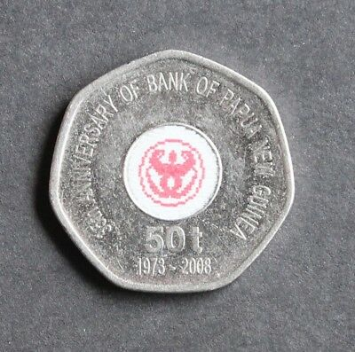 1973 - 2008 Papua New Guinea 35th Anniversary of Bank PNG 50t 7 sided coin