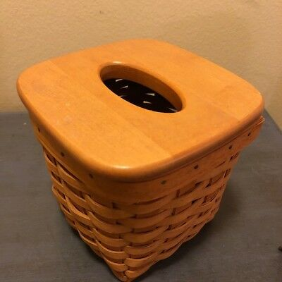 Longaberger 15831 Tall Square Tissue Basket In Warm Brown