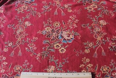French Antique Turkey Red Floral Printed Indienne Cotton Fabric Panel c1850-1860