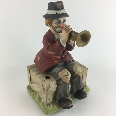 VINTAGE Clown Hobo Melody in Motion Bisque Porcelain MUSIC BOX Willie Trumpeter