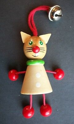 "3.5"" Wood Cat Figural Christmas Ornament VERY NICE & UNIQUE"