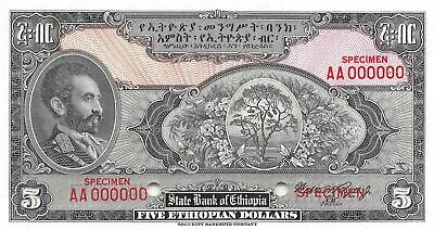 Ethiopia  $5  ND. 1945  P 13s  Specimen Series AA  Uncirculated Banknote