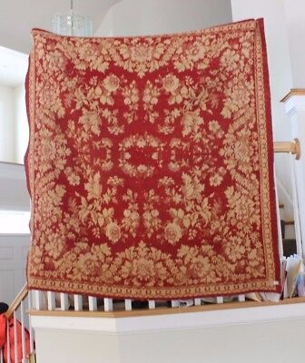 Antique French Christmas Red Floral Woven Jacquard Heavy Coverlet c1860