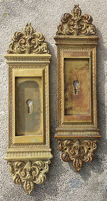 Pair Antique Neo Classical Brass Pocket Sliding Door Hardware Pulls Handle Plate