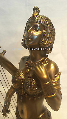 NEW Art Deco Cleopatra With Egyptian Harp Statue Figures Sculpture FAST SHIPPING